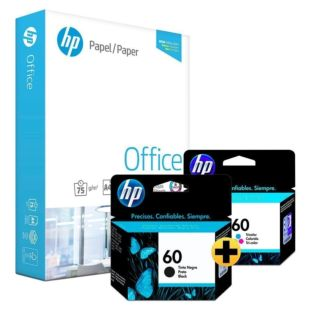 Papel Sulfite HP Office A4 + Cartucho de Tinta HP 60 Preto + Colorido Originais