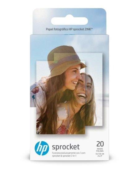 Papel Fotográfico HP Sprocket 5,1 x 7,6 cm (2 x 3 pol.) - 20 Folhas