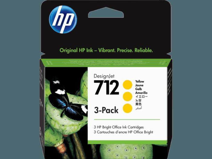 Cartucho de Tinta HP 712 Amarelo DesignJet, Pacote com 3 Originais