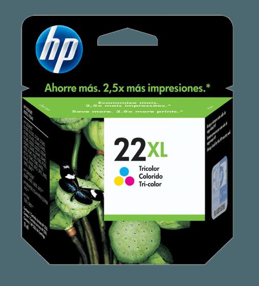 Cartucho de Tinta HP 22XL Colorido de Alto Rendimento Original