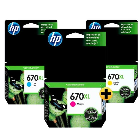 Papel Sulfite HP Office A4 + Cartucho HP 670XL Amarelo + Ciano + Magenta de Alto Rendimento Advantage Originais