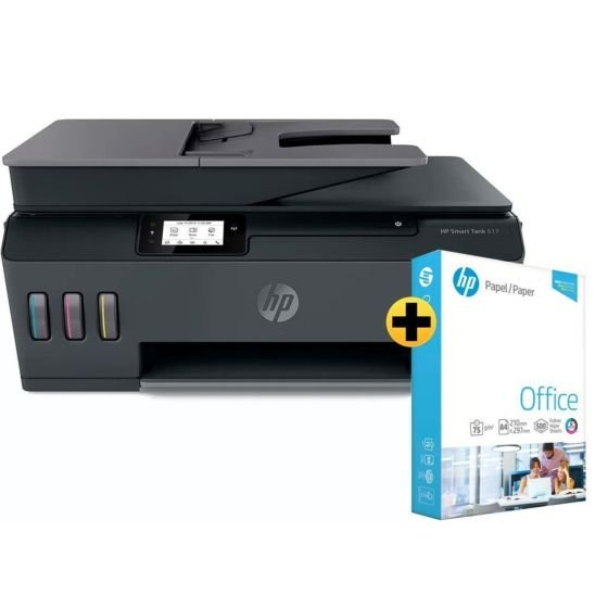 Impressora Multifuncional HP Smart Tank 617 + Papel Sulfite HP Office A4