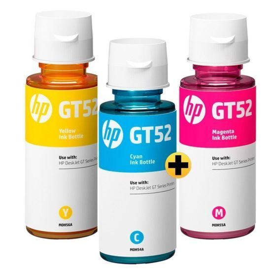 Frasco de Tinta HP GT52 Ciano + Magento + Amarelo Original