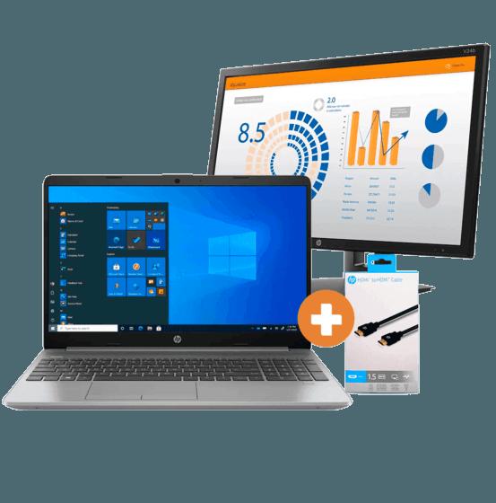 Notebook HP 256 G8 + Monitor HP V24b + Cabo HDMI 2.0