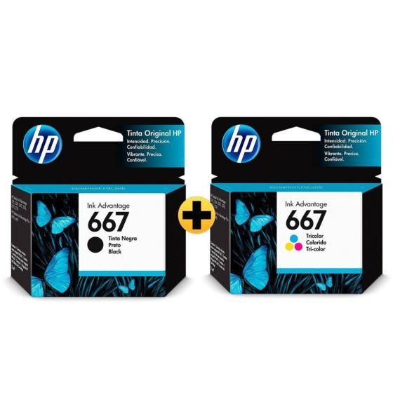 Cartucho de Tinta HP 667 Preto + Colorido Advantage Original