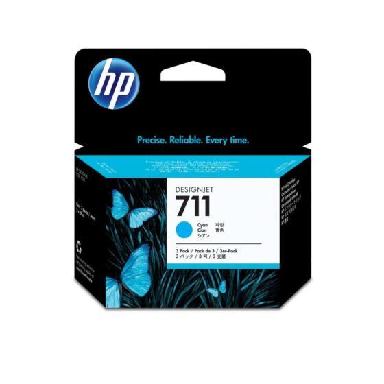 Pacote com 3 Cartuchos de Tinta HP 711 Ciano DesignJet 29 ml