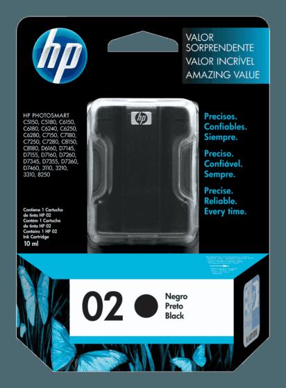 Cartucho de Tinta HP 02 Preto Original