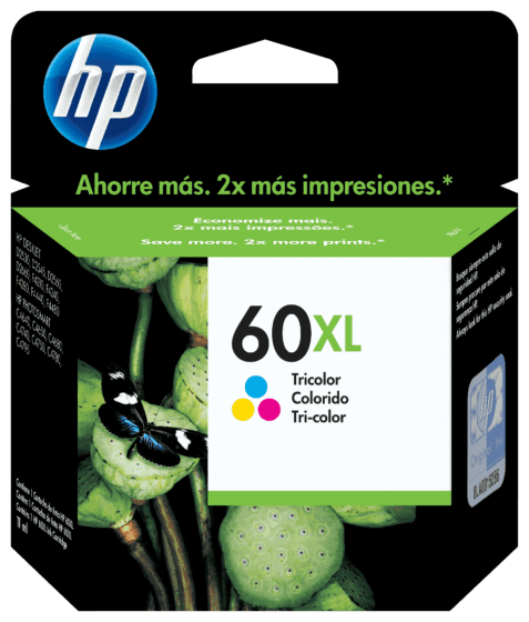Cartucho de Tinta HP 60XL Colorido de Alto Rendimento Original