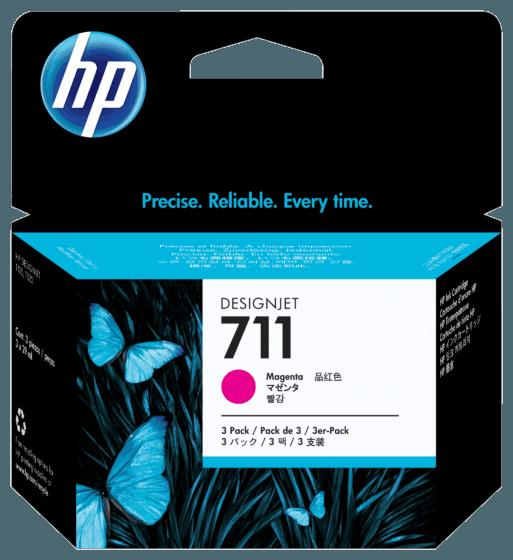 Pacote com 3 Cartuchos de Tinta HP 711 Magenta DesignJet Originais