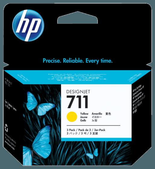 Pacote com 3 Cartuchos de Tinta HP 711 Amarelo DesignJet Originais