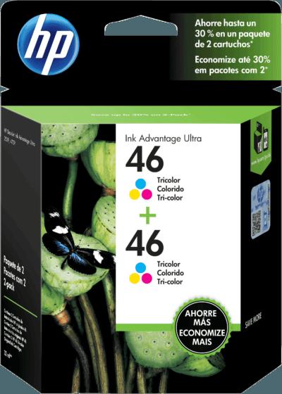 Pacote com 2 Cartuchos de Tinta HP 46 Coloridos Advantage Originais
