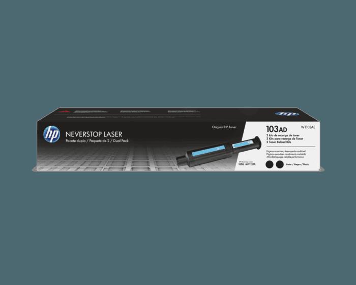 Kit de Recarga do Toner Laser HP 103AD Pacote com 2 Preto Neverstop Originais